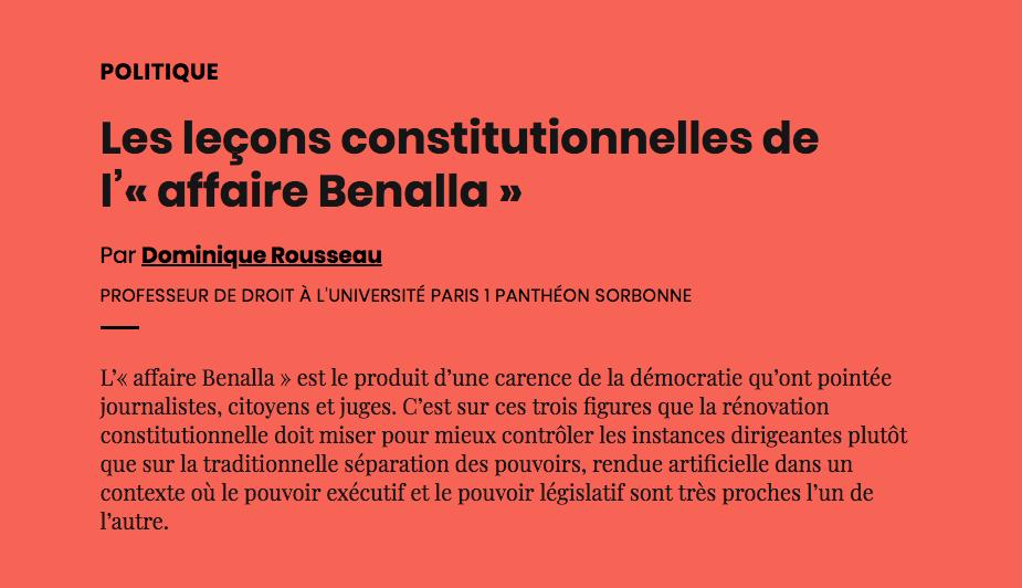 Les Lecons Constitutionnelles De L Affaire Benalla Aoc Media