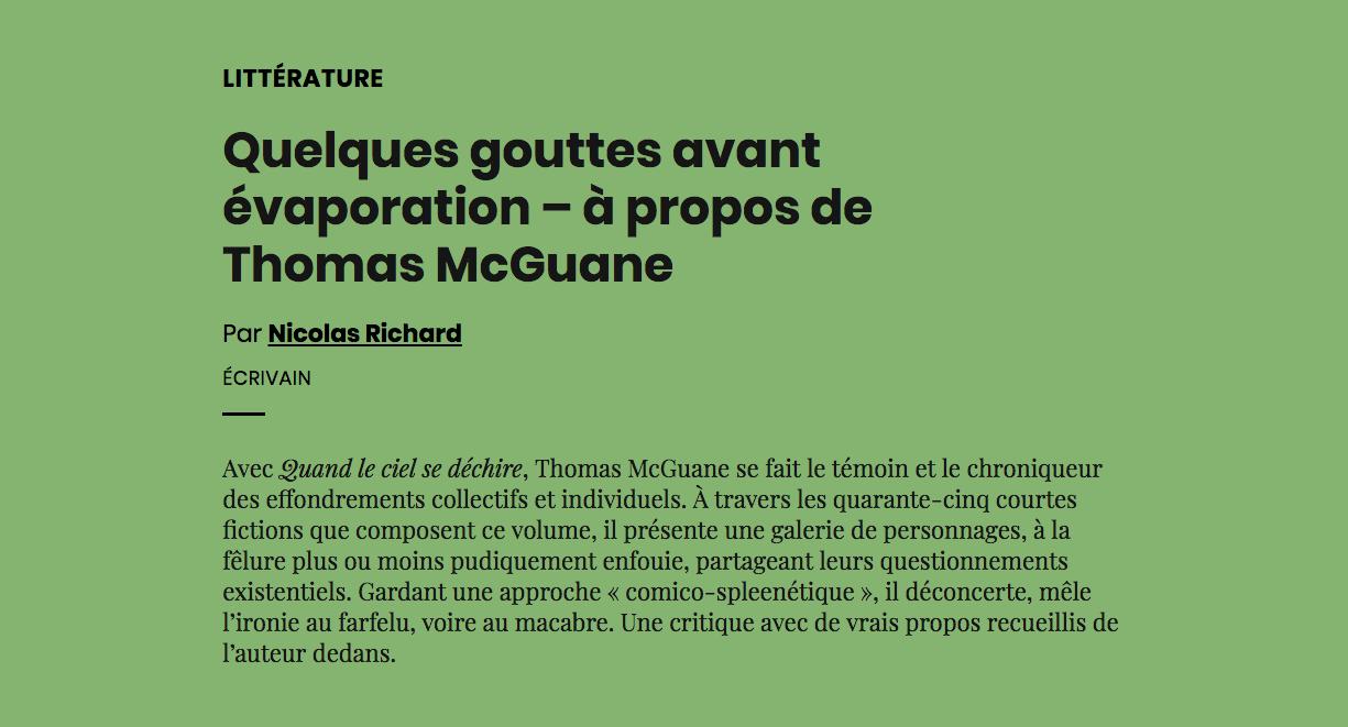 Quelques gouttes avant évaporation – à propos de ThomasMcGuane   AOC media - Analyse Opinion Critique