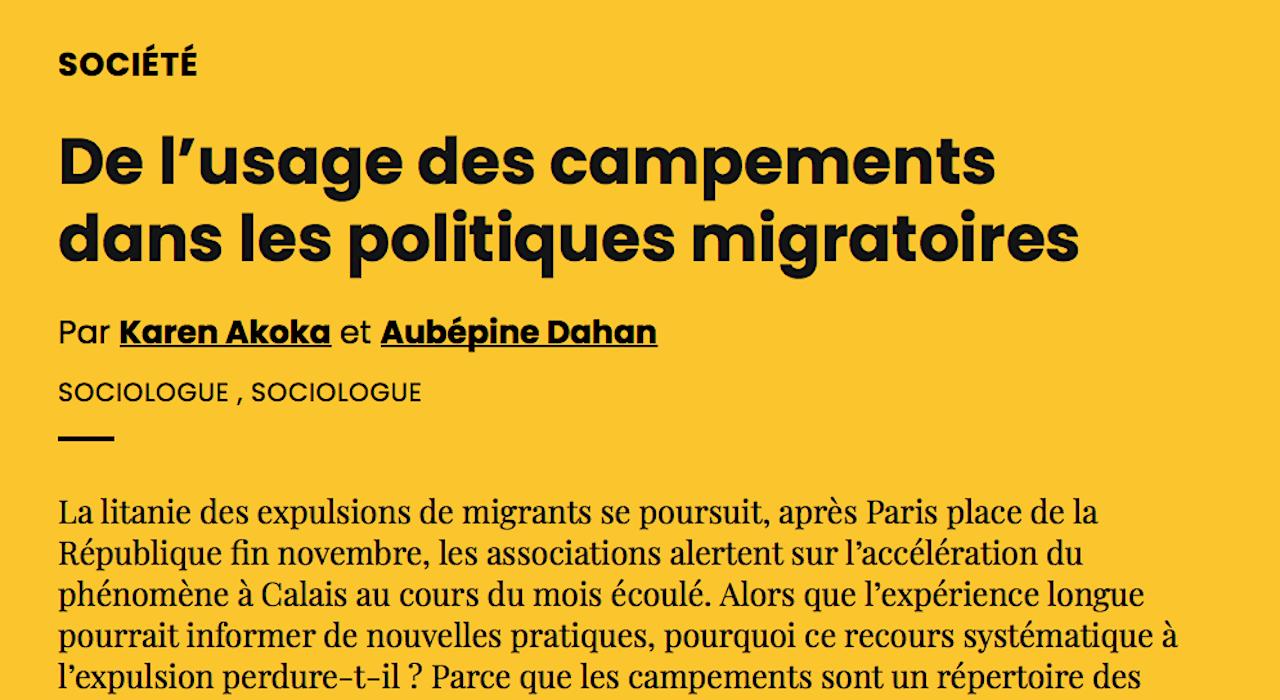De l'usage des campements dans les politiques migratoires | AOC media - Analyse Opinion Critique